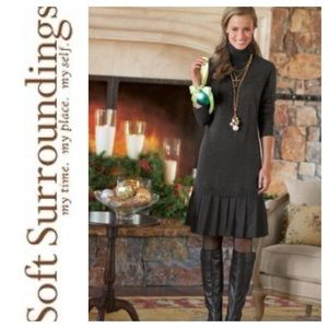 NWT Soft Surroundings CHLOE Gray Dress. Large